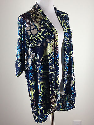 CHICO'S Travelers S/S Batik Open Front Jacket/Cardigan- 2 (12), Blue Yellow Tan