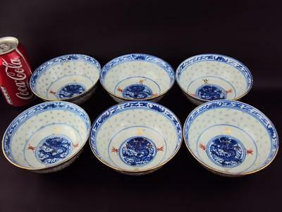 6X Impressive  Chinese Vintage Porcelain Oriental Blue and White Bowls