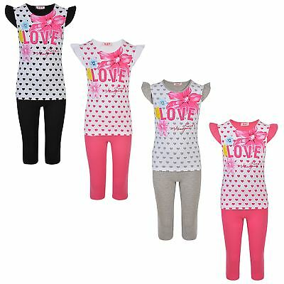 Girls T-shirt and Leggings 2 Piece Set Kids Casual Top and Bottoms Outfit 1-10 Y