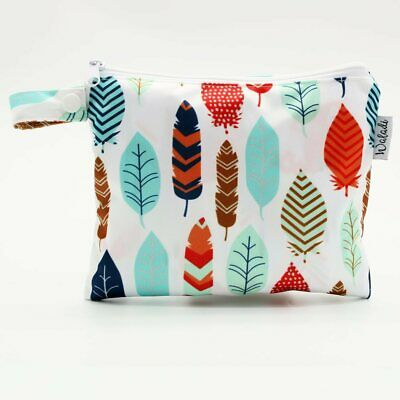 Small Waterproof Wet Bag with Zip 19 x 16cm - Colourful Feather Design