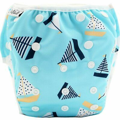Reusable Swim Nappy Pant Diaper Newborn Baby Toddler Swimming Unisex Boy Boats