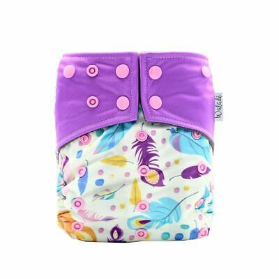 Pink & Purple Feather Design Bamboo Charcoal Cloth Nappy