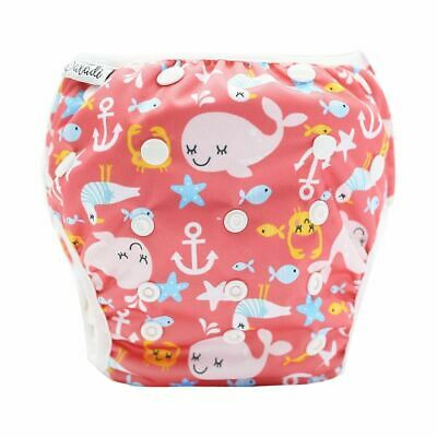 Reusable Swim Nappy Pant Diaper Newborn Baby Toddler Swimming Unisex Pink Whales