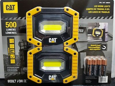 CAT LED Work Lights 500 Lumens Rugged Magnetic Rotating Handle AA Bat/ Pack of 2