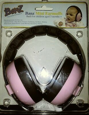 Baby Banz Ear muffs Baby Pink 3 Months CLEAN, INCLUDES PACKAGING.