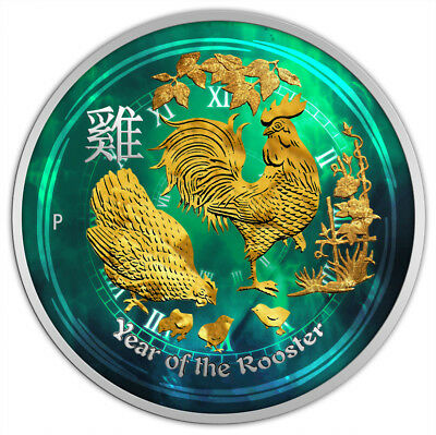 1/2 oz Silver Australia Lunar Year of the Rooster Colorized & Gold Gilded Coin