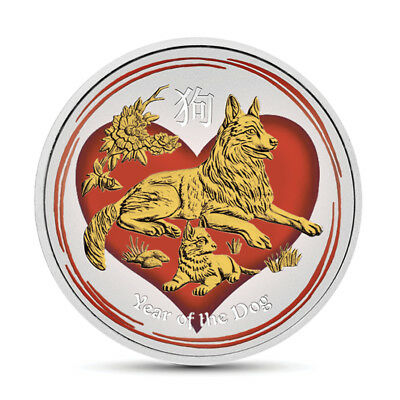 1/2 oz Silver Australia Lunar Year of the Dog in Love Colorized,Gold Gilded Coin