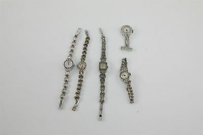 Lot of 5 x Vintage Ladies Hand-Wind Marcasite Cocktail Watches WORKING 98g