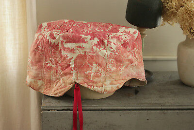 Antique French Toile l'art d'aimer red bed crown cover textile corona 1790 aged
