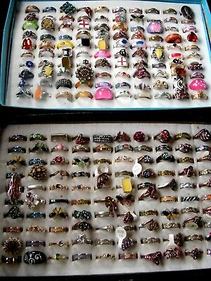Joblot Of 200 Unused Loose Assorted Rings In Assorted Colours