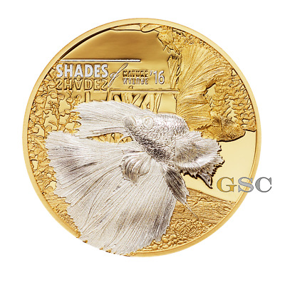 Cook Islands 2016 5$ silver coin Fighting Fish Shades of Nature series