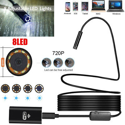 For CELL Phone 1~5M WIFI 8LED IP67 Endoscope 8MM HD Borescope Inspection Camera