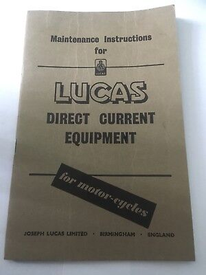 Lucas Direct Current Equipment For Motorcycles Vintage Maintenance Instructions