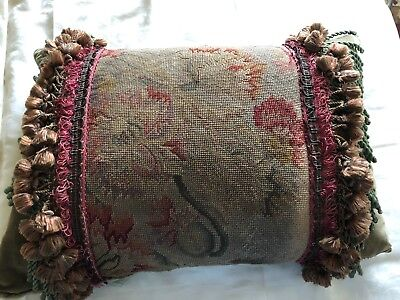 Antique Needlepoint Pillow, Late 19Th To Early 20Th Century, Passementerie Trim