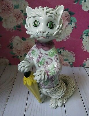 Large Vintage Spaghetti Cat w/Umbrella Made in Italy Very Lewis Carroll Looking