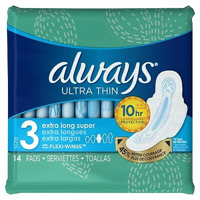 Always Size 3 Extra Long Super Absorbency with Wings Ultra Thin Pads 14 ea (2pk)