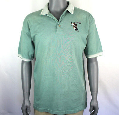 Tazmanian Devil Mens Polo Shirt Cotton Warner Bros Sz Large L