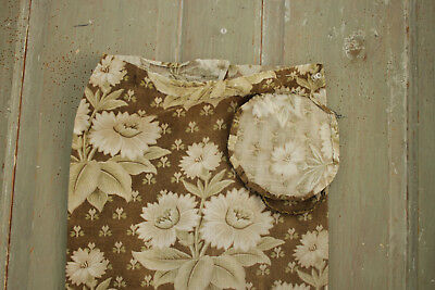 Antique French floral fabric Belle Epoque c1880 khaki sage green printed bolster
