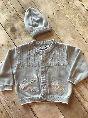 Carriage Boutiques Baby Boys Cars Trucks Cardigan Sweater And Hat 6 Months