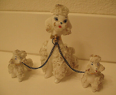 Vintage Poodle Dog Japan Porcelain Spaghetti Mom and Puppies on Chain White Gold