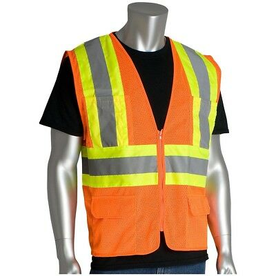 PIP Class 2 Reflective Two-Tone Mesh Safety Vest with Pockets, Orange