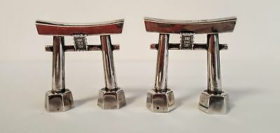 Japanese 950 Sterling Silver Shinto Torri Gate Salt & Pepper Shakers Antique