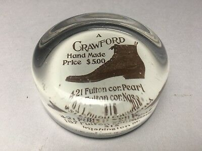 Antique Crawford Hand Made Shoes Asvertising Glass Paperweight