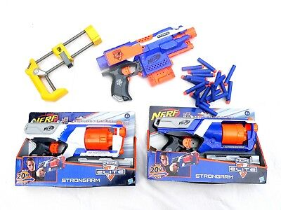 Nerf Gun Job Lot N-Strike - Strongarm x 2 and Stryfe with Bullets