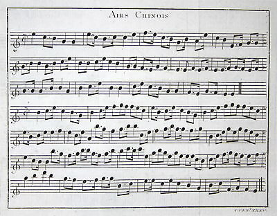 ca. 1750 China Asia Asien Lied Noten song notes Kupferstich antique print