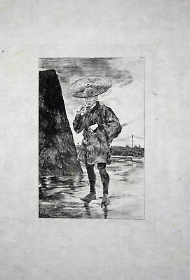 1886 Georges Bigot smoking man in rain - Japan Radierung etching gravure