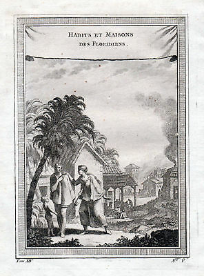 ca. 1750 Florida man woman costume Tracht America Kupferstich antique print