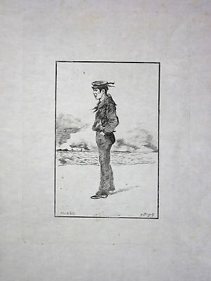 "1886 Georges Bigot ""Matelot"" - Sailor - Japan Radierung etching gravure"