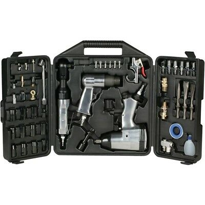NEW 50pc Air Tool Kit Set Impact Ratchet Hammer Sockets Chisels Nozzles w/ Case