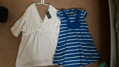 small size 10 mothercare topshop stripe, white maternity tops bundle