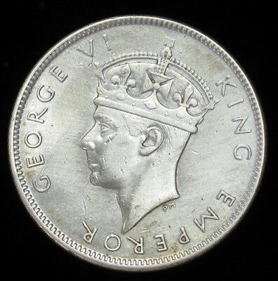 1943-S Fiji Florin silver coin AU, cleaned