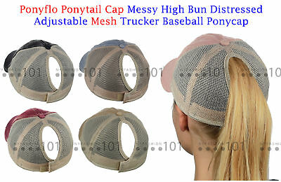 Ponyflo PonyCap Messy High Bun Distressed Adjustable Mesh Trucker Ponytail Cap