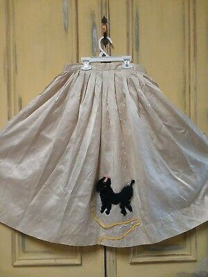 True Vtg Poodle Skirt 28 Inch Waist Off White Navy Blue Poodle Heavy fabric