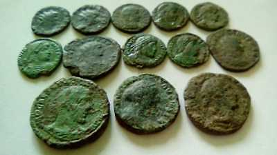 Lot Of 13 Ancient Bronze Roman Coins Uncleaned