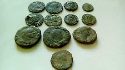 Lot Of 12 Ancient Bronze Roman Coins Uncleaned