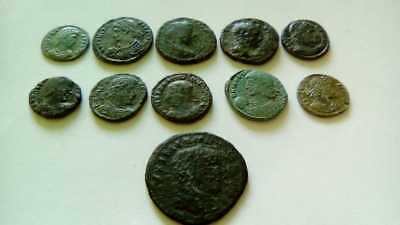 Lot Of 11 Ancient Bronze Roman Coins Uncleaned
