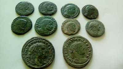 Beautiful Lot Of 10 Ancient Bronze Roman Coins Unclenaed