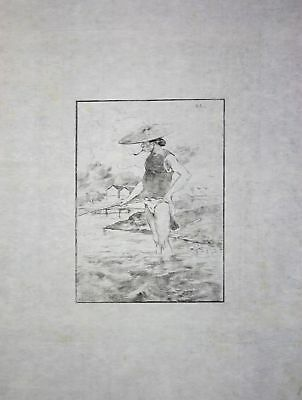 "1886 Georges Bigot ""Pecheur"" - man fishing - Japan Radierung etching gravure"