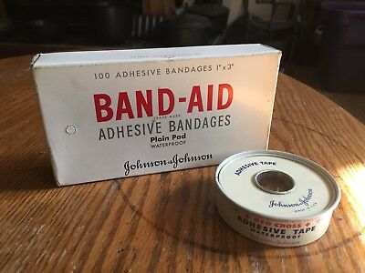 Vintage Johnson & Johnson ~ Tin Red Cross Adhesive Tape / box of 100 Band-Aids