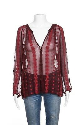ZOA Blouse Size 8 100% Silk Red Sheer Print Peasant Tunic Shirt Top Embroidered
