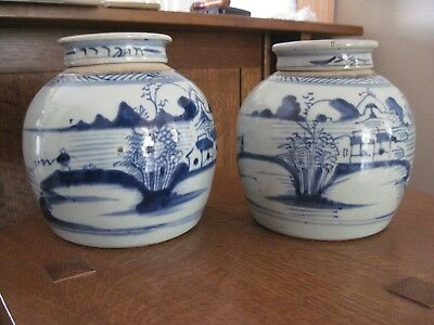 Pair Of Antique Chinese Canton Blue & White Porcelain Ginger Jar