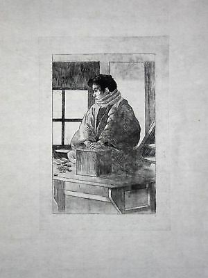 1886 Georges Bigot seated man - Japan Radierung etching gravure