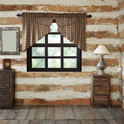 Wyatt Moss Crimson Plaid Rustic Cotton Country Cottage Window Prairie Swags