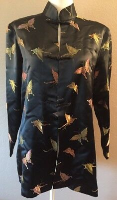 Vintage Asian Kimono Jacket Metallic Embroidered Butterfly Print Size Medium