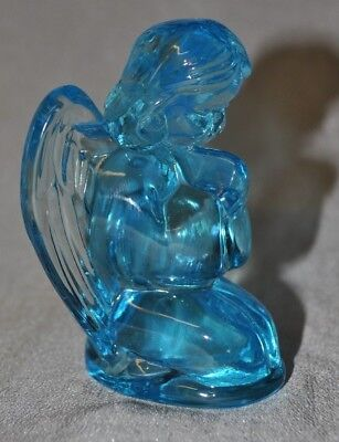 Mosser Glass Angel Praying Ice Crystal Blue Glass Signed on Bottom 3 3/4""