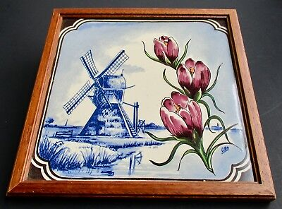 VTG Dutch Windmill and 3 Tulips CRO Handpainted Delft Style Tile in Wood Frame
